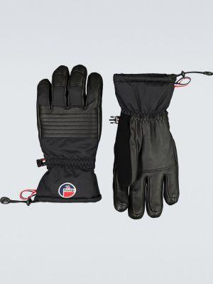 Sport czarny ciepły skórzany rękawiczki z prawdziwej skóry Fusalp