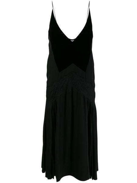 Шелковое платье миди на бретелях с V-образным вырезом со складками Givenchy