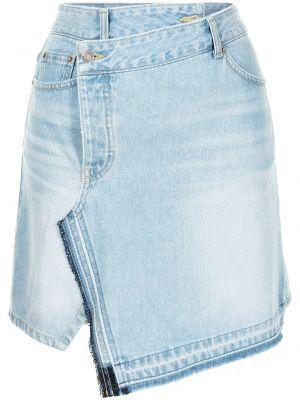 Niebieska spódnica mini kopertowa srebrna Sjyp