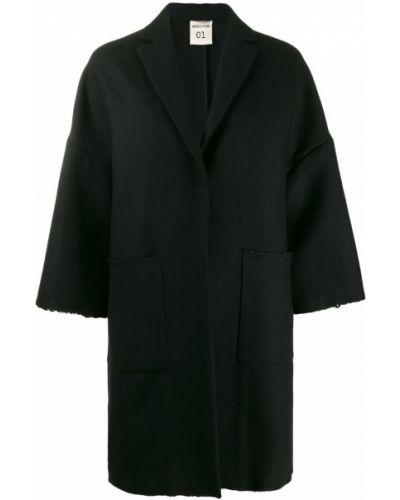 Однобортное шерстяное черное пальто Semicouture