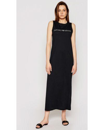 Хлопковое пляжное черное платье Ea7