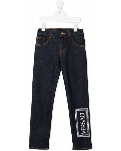 Niebieskie jeansy bawełniane z paskiem Young Versace