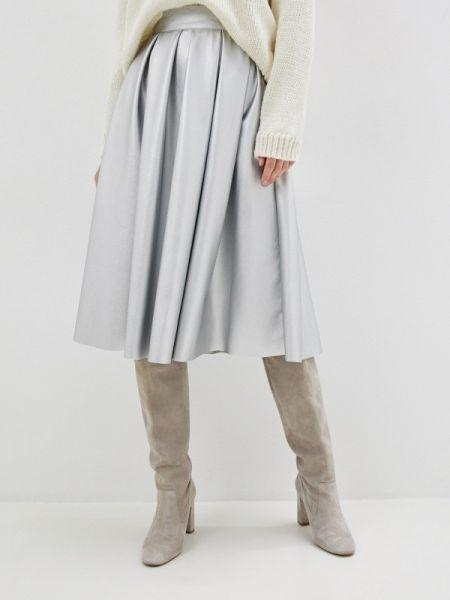 Кожаная юбка весенняя серебряный Sava Mari