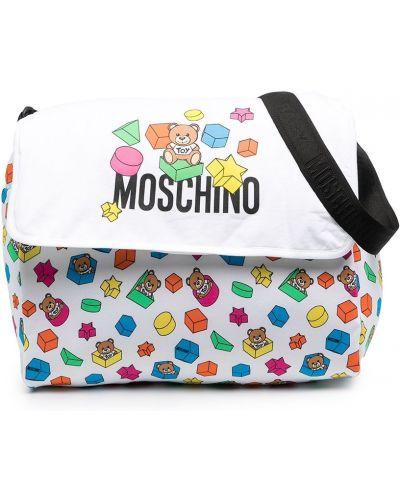 С ремешком хлопковая белая косметичка Moschino Kids