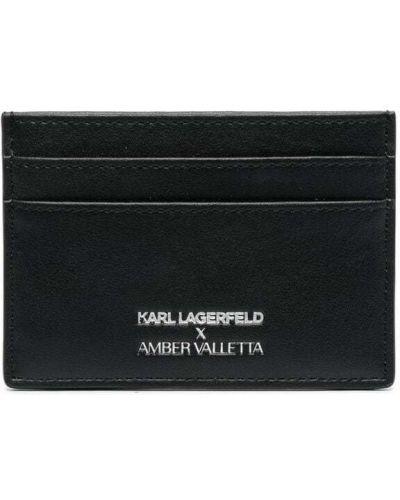 Черная кожаная визитница с янтарем Karl Lagerfeld