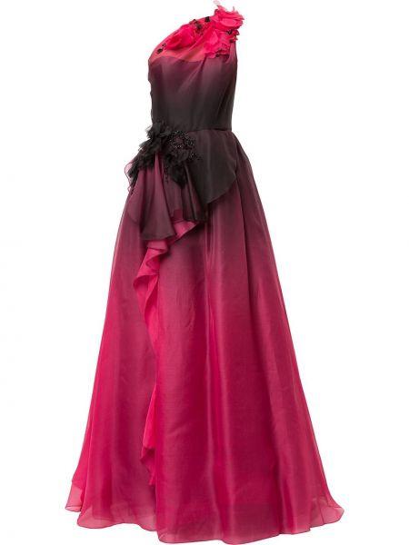 Асимметричное черное платье для полных Marchesa