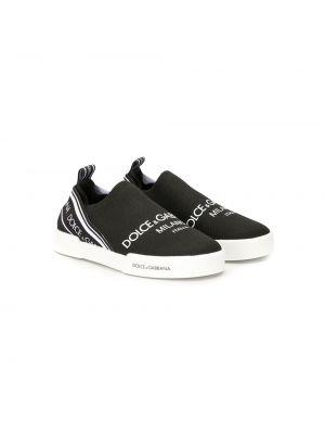 Черные слипоны без застежки Dolce & Gabbana Kids
