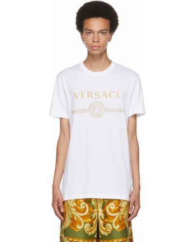 Biała złota t-shirt Versace