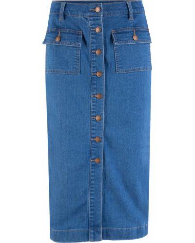 Джинсовая юбка миди голубой Bonprix