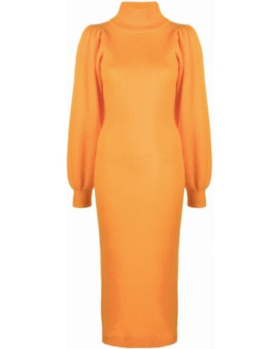 Шерстяное платье макси - оранжевое Rotate