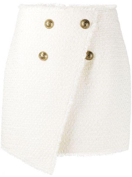 Белая с завышенной талией юбка с запахом Balmain