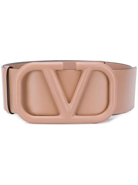 Różowy pasek skórzany z paskiem Valentino