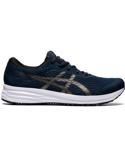Синие кроссовки беговые для бега на шнуровке Asics