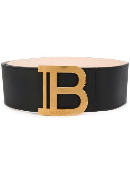 Кожаный черный ремень с декоративной отделкой с поясом Balmain