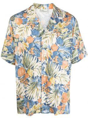 Niebieska koszula krótki rękaw w kwiaty Drole De Monsieur