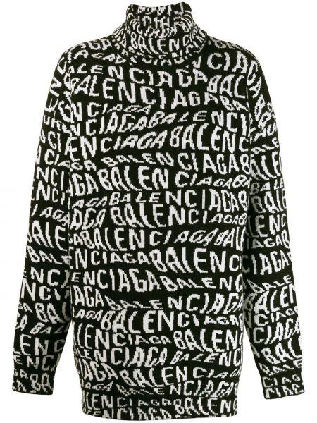 Biały prosto wełniany sweter przycięte Balenciaga