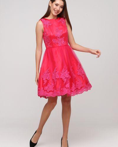 Розовое пышное вечернее платье с вышивкой Apart