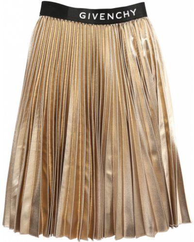 Плиссированная юбка миди на резинке золотая Givenchy