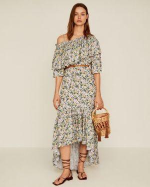 Платье мини с цветочным принтом каскадное Mango