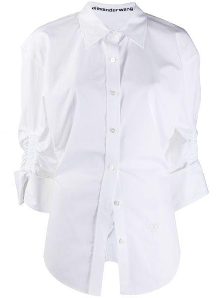 Biała koszula bawełniana z falbanami Alexander Wang