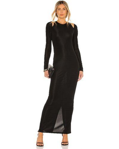 Трикотажное черное платье макси с декоративной отделкой Michael Costello