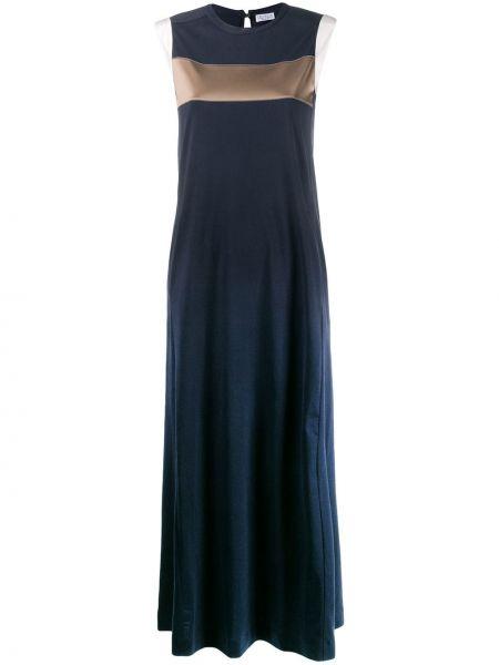 Шелковое синее платье с вышивкой Brunello Cucinelli