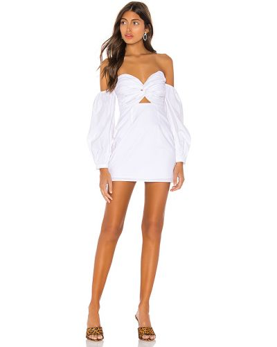 Biały sukienka z rękawem z dekoltem z zamkiem błyskawicznym z falbankami Superdown