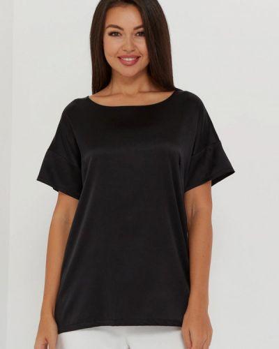С рукавами шелковая черная блузка Silk Me