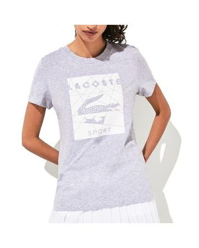Szary t-shirt bawełniany z printem Lacoste
