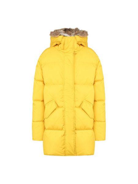Облегченная желтая стеганая куртка из кролика с перьями Lempelius
