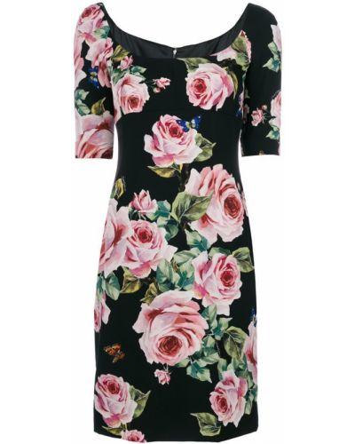 Платье мини с цветочным принтом приталенное прямое Dolce & Gabbana