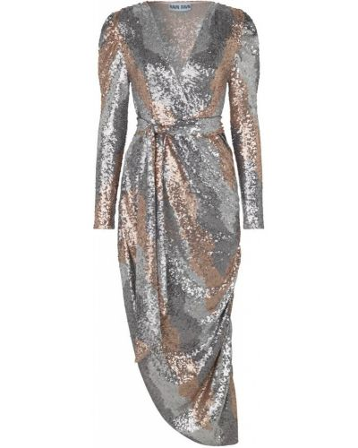 Szara sukienka midi elegancka Ravn