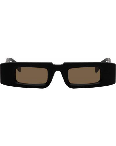 Черные солнцезащитные очки прямоугольные из натуральной кожи с тиснением Kuboraum