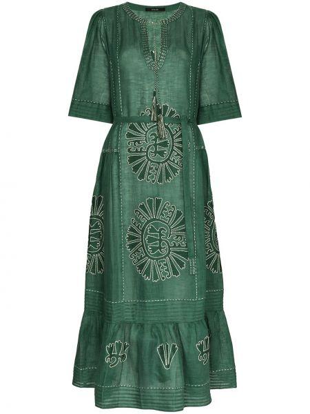 Свободное расклешенное платье с вышивкой с V-образным вырезом Vita Kin