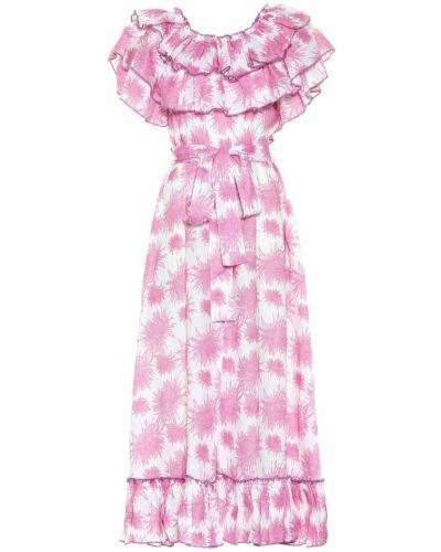Розовое льняное летнее платье Gül Hürgel