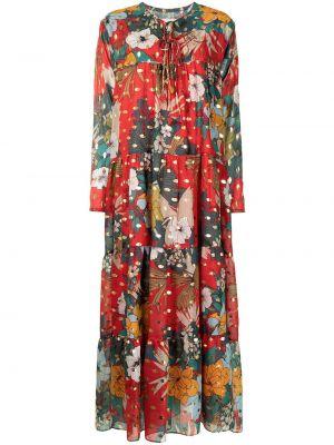 Расклешенное красное платье миди в цветочный принт Bambah