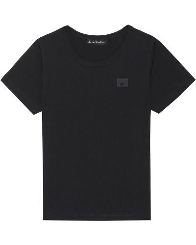 Czarny t-shirt bawełniany Acne Studios Kids