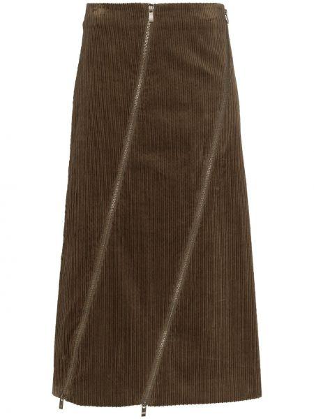 Асимметричная юбка миди в рубчик Asai