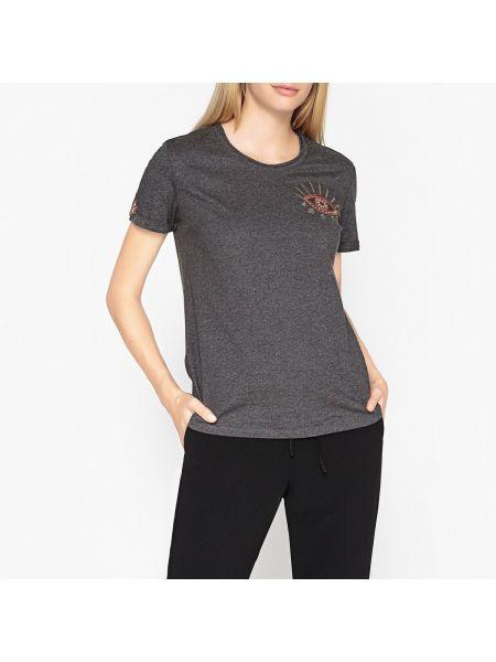 Хлопковая футбольная футболка с вышивкой с круглым вырезом Berenice