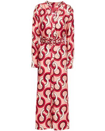 Satynowa sukienka midi z paskiem zapinane na guziki F.r.s For Restless Sleepers