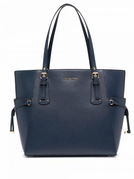 Синяя кожаная сумка-тоут с карманами Michael Michael Kors