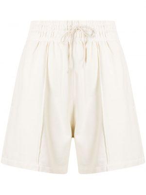 Белые хлопковые шорты с карманами с завышенной талией Agolde