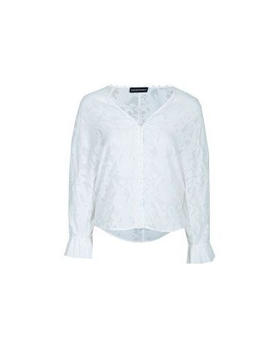 Белая блузка из вискозы Emporio Armani