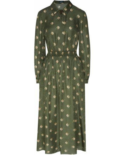 Шелковое зеленое платье-рубашка Alena Akhmadullina