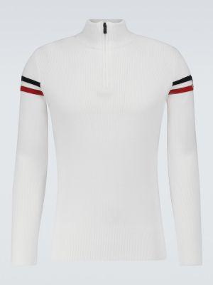 Biały sweter w paski Fusalp