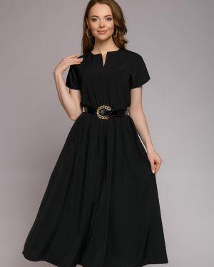 Платье с поясом со складками на молнии 1001 Dress