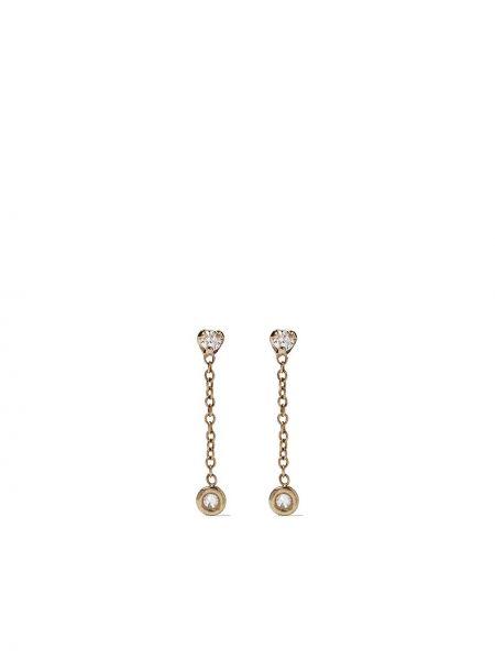 Золотистые желтые золотые серьги круглые с бриллиантом Zoë Chicco