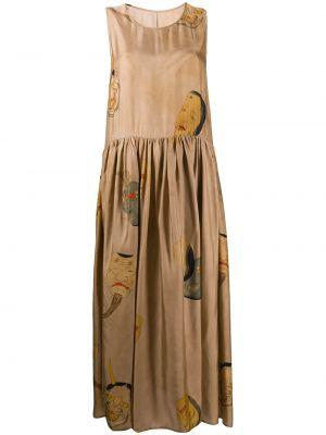 Коричневое плиссированное платье миди без рукавов с вырезом Uma Wang