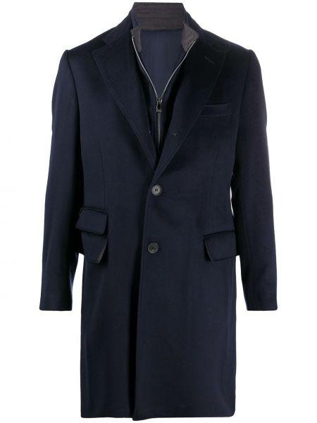 Jednorzędowy wełniany płaszcz zapinane na guziki z kieszeniami Corneliani
