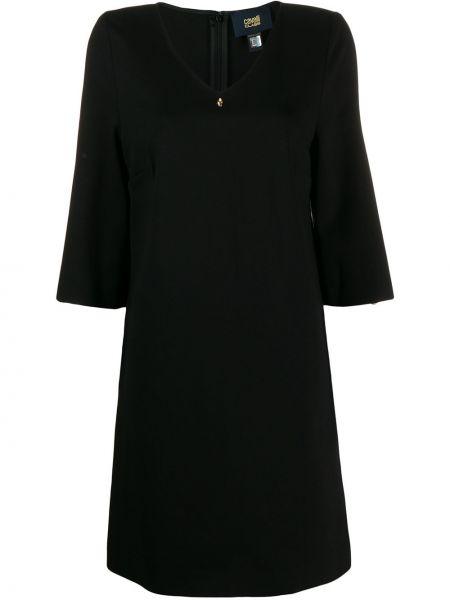 Черное прямое платье мини с V-образным вырезом на молнии Cavalli Class
